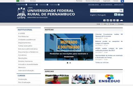 Imagem da página principal do novo portal eletrônico da UFRPE